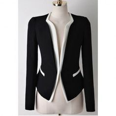$17.44 Casual Style Contrast Color Splicing Long Sleeve Blazer For Women