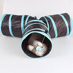 Depets Cat Tunnel Collapsible 3 Way Play Tube Toys with Ball for Kitten Dog Rabbits -- Check this awesome product by going to the link at the image.Note:It is affiliate link to Amazon.