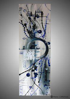 BLUE WAVE tableau peinture acrylique art abtrait moderne Plus