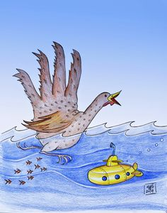 Yellow Submarine Turkey ©Carolyn Watson Dubisch Days Until Thanksgiving, Farm Animals Pictures, Turkey Drawing, Hand Turkey, Yellow Submarine, Scribble, Art Drawings, Hands, Crafty