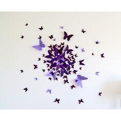 3Dウォールデコ / 蝶 パープル (50ピース) by Kierstin Rudd
