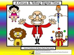 Are your kids ready for the Big Top?  A Circus and Digital Time task cards can be used as a class game, in cooperative learning groups or at a math center. Learners answer questions about digital time with entertaining circus characters such a, Juggle Bear, Tina the Tight Rope Walker and  Al, the Alligator Wrestler.
