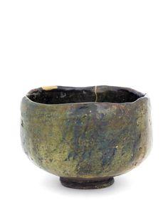 Tea bowl in style of Ohi ware  19th century. Edo period or Meiji era. Raku-type clay with copper-tinted glaze. H: 8.0 W: 11.8 cm. Japan.