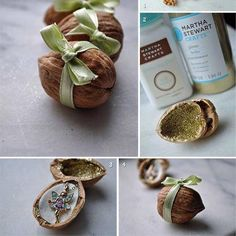 DIY Fairy Walnut Presents. Ok, is this a little too over the top, or would this be adorable for the Toothfairy to leave behind? Minus the necklace, the walnut box is just so stinkin cute! Little Presents, Little Gifts, Homemade Gifts, Diy Gifts, Walnut Shell, Martha Stewart Crafts, Diy Projects To Try, Small Gifts, Cute Gifts