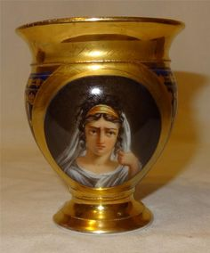 Early 19th Century Paris Schoelcher Marked Porcelain Cabinet Cup - Depicting  Phedre - Titled in Gilt.