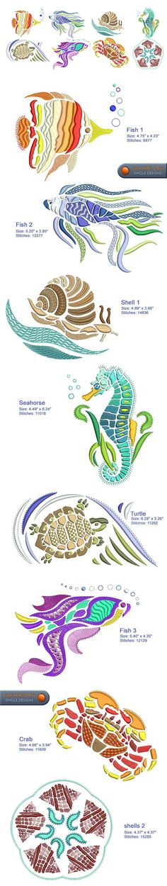 SEA LIFE Embroidery Designs Free Embroidery Design Patterns Applique #embroiderydesigns #EmbroideryDesignsFree