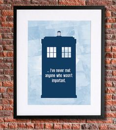 "Doctor Who Tardis Poster | 8x10 Instant Download Printable | 10th Doctor | David Tennant | Vector Watercolour Style | ""...I've never met anyone who wasn't important."" 