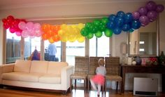 Rainbow Party balloon garland at a child's rainbow birthday party. Rainbow Parties, Rainbow Birthday Party, Rainbow Theme, 2nd Birthday Parties, Rainbow Baby, Birthday Balloons, Birthday Ideas, Rainbow Colors, Ballon Banner