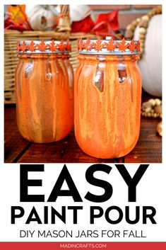 If you have never experimented with paint pouring, this is a fun, low-risk project to start with. And, you get some really beautiful fall mason jars in the end! Fall Mason Jars, Mason Jar Crafts, Mason Jar Diy, Country Chic Cottage, Martha Stewart Crafts, Beautiful Interior Design, Mason Jar Lighting, Jar Lights, Blogger Home