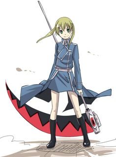 Maka Albarn from Soul Eater dressed as a soldier of the Amestrian military in Fullmetal Alchemist. :D
