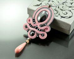 Soutache Pendant Thérèse's Treasure, Pink Pendant, Gray Pendant, Graphite Pink…