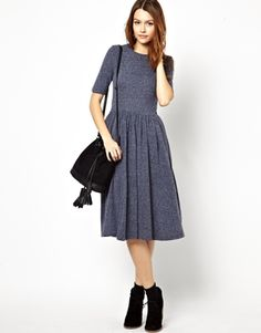 Image 4 of ASOS Midi Dress In Nepi With 3/4 Sleeves