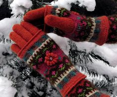 Fair Isle gloves and mittens Four Seasons  Dancing in by domklary