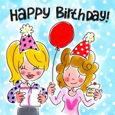 Twee meisjes met een cadeau, ballon en taart