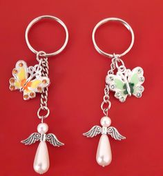 Angel and Butterfly keyring angel bag charm butterfly bag