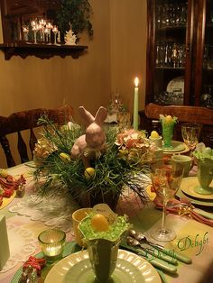 Nestle an Easter bunny inside a basket and tuck in faux grasses, hydrangeas and Easter eggs