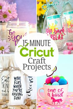 15 Minute Cricut Craft Projects - A fabulous collection of Cricut crafts you can make in 15 minutes or less. Looking for quick and easy Cricut projects you can make in 15 minutes or less? I've curated a fabulous collection Minute Cricut Craft Projects! Pot Mason Diy, Mason Jar Crafts, Mason Jars, Vinyle Cricut, Creative Crafts, Crafts For Kids, Kids Diy, Diy Cadeau, Cricut Craft Room
