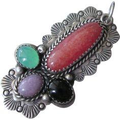 Vintage Signed Silver Cloud Native American Sterling Gemstone Large Pendant