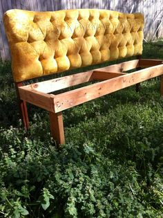 Headboard turned into a bench for the kitchen!  Brilliant!  from Segelquistdesign on facebook