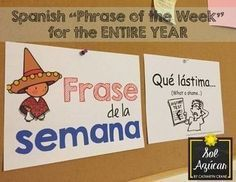 Phrase of the Week Posters - Frase de la Semana - Set Frase de la semana - Phrase of the week for Spanish Class - For the FULL school year - By Sol AzúcarFrase de la semana - Phrase of the week for Spanish Class - For the FULL school year - By Sol Azúcar Spanish Lesson Plans, Spanish Lessons, Learn Spanish, Spanish 1, Spanish Posters, Spanish Phrases, Spanish Language, Spanish Sayings, Japanese Language