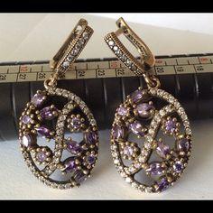 🎯SALE🎯Silver Amythyst Topaz Earrings Beautiful Elegant amethyst Topaz earrings🐾 Turkish style Jewelry Earrings