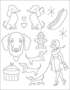 Dog - Darling Dachshunds stitching embroidery pattern on eternalmaker.com