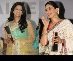#Saree II Sridevi (in sabyasachi) and Kareena Kapoor (in manish malhotra) at the @NDTV Indian of the Year award ceremony, April 15, 13