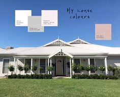 I get asked about my house colours all the time. Every week I think! So I thought I'd put a post together for those who are interested 🙂 The weatherboard has been painted SHALE GREY. I used Taubmans Endure (we. Exterior Color Combinations, Exterior Color Schemes, Exterior Paint Colors For House, House Color Schemes, Paint Colors For Home, Colour Schemes, Paint Colours, Color Combos, Weatherboard Exterior