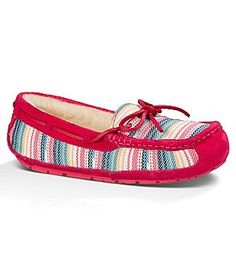 UGG® Symona Serape Moccasin Slipper fabric/suede sunset red sz7 100.00 6/16