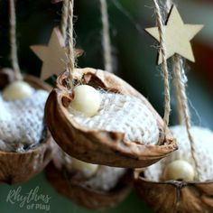 This DIY rustic homemade walnut shell manger Christmas ornament can be made by both kids and adults. Handmade ornaments like this kid-made baby Jesus in the manger are perfect for the Christmas tree. You can also use this craft as a part of a nativity scene. They make beautiful decorations and are a great keepsake gift idea! Click through for the easy to follow tutorial!