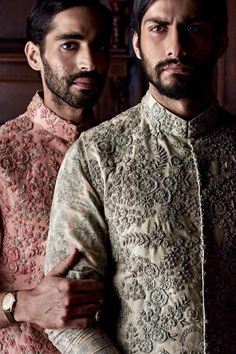 Find your wedding outfit from Sabyasachi Mukherjee SS 2016 indian bridal collection! From traditional lehengas to floral modern bridal options Mens Indian Wear, Mens Ethnic Wear, Indian Groom Wear, Indian Wedding Wear, Indian Men Fashion, Wedding Men, Mens Fashion, Menswear Wedding, Groom Fashion