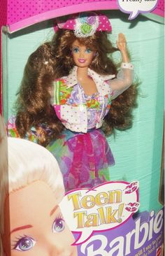 Teen Talk Barbie Brunette 05745 ,Teen Talk Brunette (various dresses). Comes with 3 watch batteries and that you press a button on her back to make her talk Barbie 80s, Barbie Hair, Barbie World, Vintage Barbie, Vintage Toys, Barbie Stuff, 80s Stuff, Vintage Stuff, Barbie Clothes