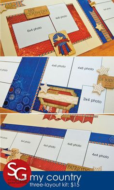 scrapbook generation: Ten new patriotic layout kits!
