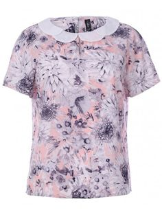 Blue Inc Woman Womens Pink Pastel Floral Print Shell Short Sleeved Top