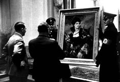 """Reich Marshal Goering, Hitler gives a picture of Hans Makart """"lady with a falcon"""" (1880). Monument Men, Degenerate Art, The Third Reich, Rare Photos, World War Ii, True Stories, Les Oeuvres, Streamers, Museum"""