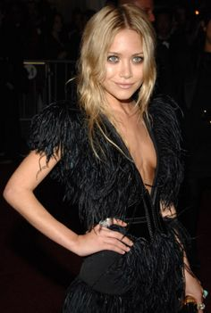 mary kate olsen in a feathered number
