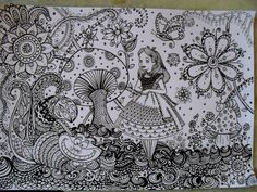 """Alice in Wonderland https://www.facebook.com/ariane.naranjo #doodle #doodles"" Love this zentangling!"