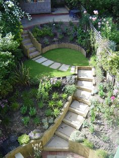 Steeply sloping garden terraced using new railway sleepers and stone steps. Low maintenance planting for a busy, professional client.