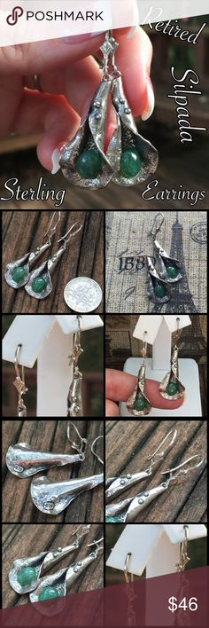 """Vintage Silpada Sterling Handcrafted Earrings NICE This is a gorgeous pair of Retired/ Vintage Silpada Sterling Silver Green Stone/ Jade? Handcrafted Earrings. I have never seen another pair like these?! Measures 1.75"""" long. Marked 925 on the back of the earrings w/ Silpada arrows on the fronts, see pics. I love these! Great vintage condition, ready to wear! Thanks for looking! Please ask any questions b4 purchasing. I ship out same day! Please make REASONABLE offer using offer button only…"""