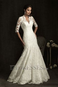 A-line V-neck Lace Luxury Wedding Dresses  www.izidresses.com