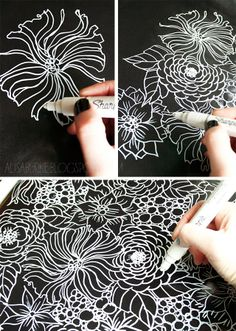 alisaburke: make your own black and white wrapping paper! alisaburke: make your own black and white wrapping paper! Doodles Zentangles, Zentangle Patterns, Zen Doodle, Doodle Art, White Wrapping Paper, Diy Wrapping, Sharpie Art, White Sharpie, Sharpies