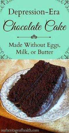 Depression-era chocolate cake recipe