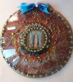 Our Lady, 20 cm diameter - paper, glass, acrylic, cristal (Murano), cotton