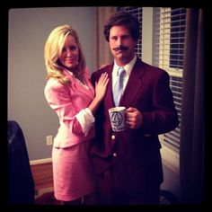 32 DIY Ideas for Couples Halloween Costumes - Anchorman costume with Ron Burgundy Ms. Corningstone