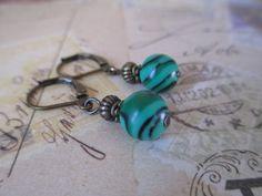 Malachite Earrings Green Earrings Stone Earrings Green Malachite Earrings Dangle Earrings Earrings under 10 Small Earrings Brass Earrings