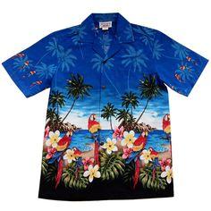 080e47be Parrot-Dise Blue Hawaiian Border Aloha Sport Shirt #cheaphawaiianshirt  #hawaiianshirts #alohashirt #. PapayaSun