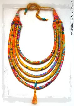 Collier Ethnique Bohème-Folk en tissu et soie Indienne Jaune