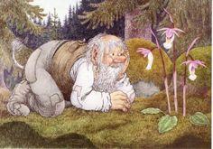 A flower-loving troll. (Artist: Rolf Lidberg.)