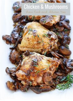 This delicious skillet chicken & mushrooms recipe is not only low carb, but dairy free, egg free, nut free, keto, Paleo, & Whole 30 approved!