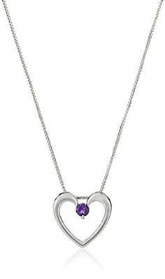 """Sterling Silver Round Amethyst Heart Pendant, 18"""" Amazon Collection http://smile.amazon.com/dp/B008LQD0FW/ref=cm_sw_r_pi_dp_NVKWvb0FKHNV7"""